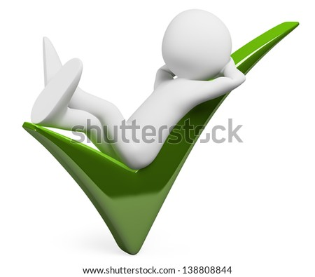 3d white person resting on a big check mark. Isolated white background.