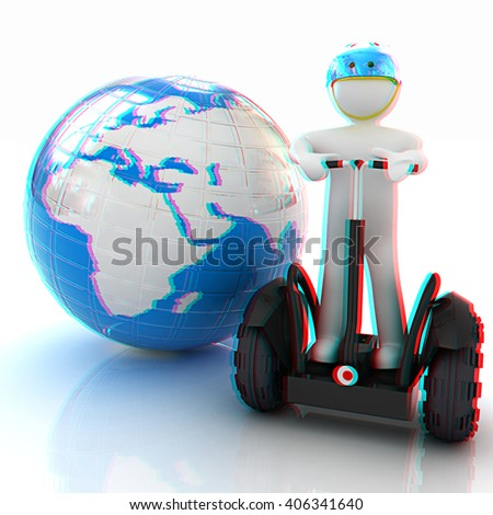 3d white person riding on a personal and ecological transport and earth.Global ecology and healthy life concept.3d image. . 3D illustration. Anaglyph. View with red/cyan glasses to see in 3D. - stock photo