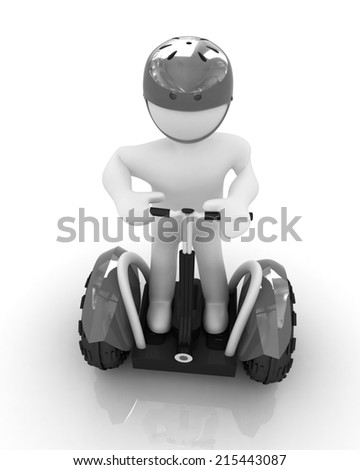 3d white person riding on a personal and ecological transport.3d image.