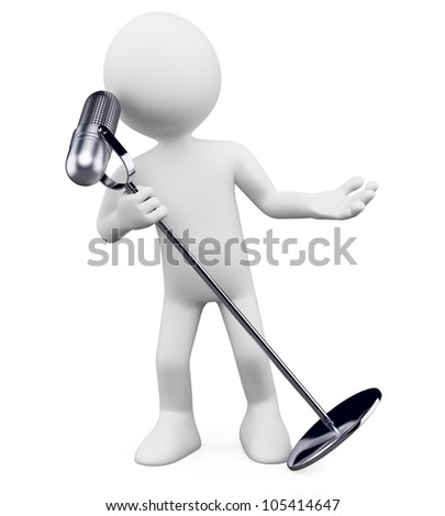 3d white person singing with a microphone. 3d image. Isolated white background.