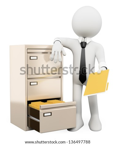 3d white person sorting and filing folders in a file cabinet. Isolated white background. - stock photo