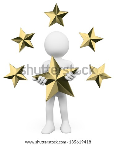 3d white person. Stars. Premium quality. Isolated white background. - stock photo