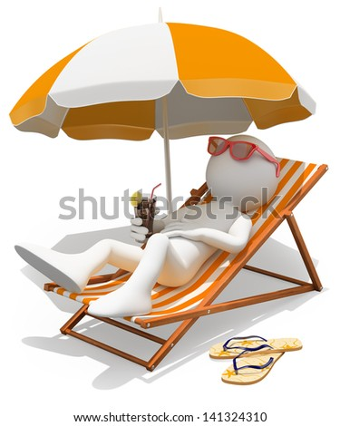 3d white person sunbathing on a lounger with a refreshing drink. Isolated white background. - stock photo