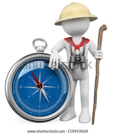 3d white person with a compass, a staff, binoculars and a explorer hat. 3d image. Isolated white background. - stock photo
