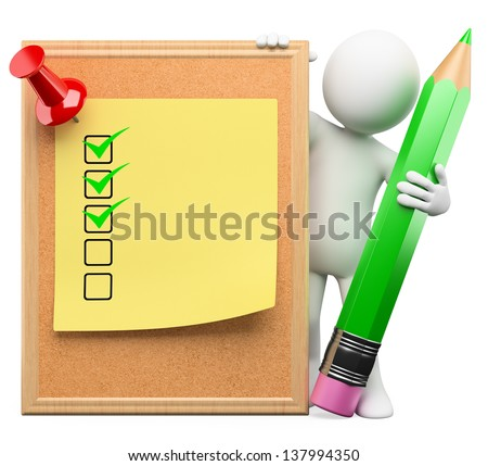 3d white person with a cork board, post it with ticks and pushpin. Isolated white background. - stock photo