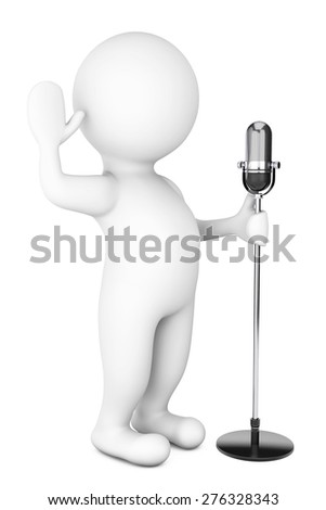 3d White Person with a Vintage Microphone on a white background