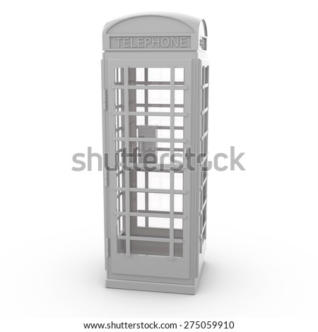 3d white phone booth isolated over white background