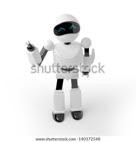 3d white plastic robot, waving, saying hello. Japanese cute style.
