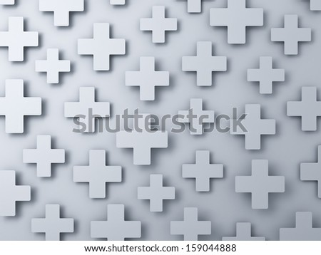 3d white plus signs abstract background - stock photo