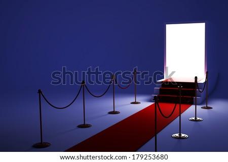 3D White podium on dark background  - stock photo
