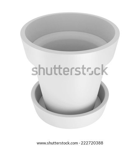 3D White Pot Isolated on White Background - stock photo
