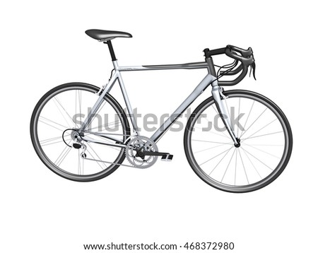 3d white racing bicycle isolated on white