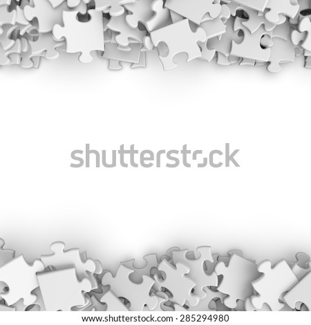 3d white randomly scattered puzzle pieces border background - stock photo