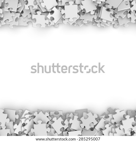 3d white randomly scattered puzzle pieces border background