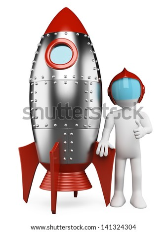 3d white retro astronaut with spaceship and thumb up. Isolated white background. - stock photo