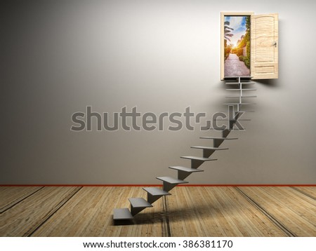 3d white room with opened door - stock photo