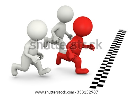 3D White Runners Characters and One Red Winning the Foot Race Illustration on White Background