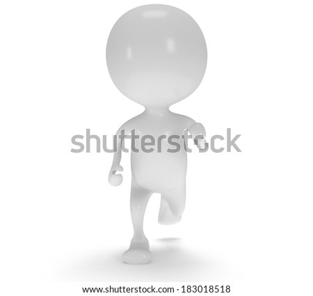 3d white running man. Render isolated on white. Run, fitness, business concept.