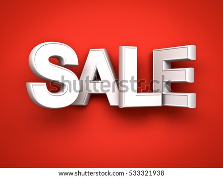 3d white sale word on red background with shadow. 3D rendering.