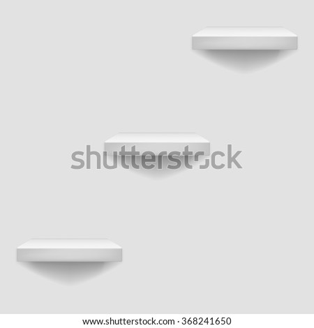 3d White Shelf Hanging on a Wall Template Background  Illustration