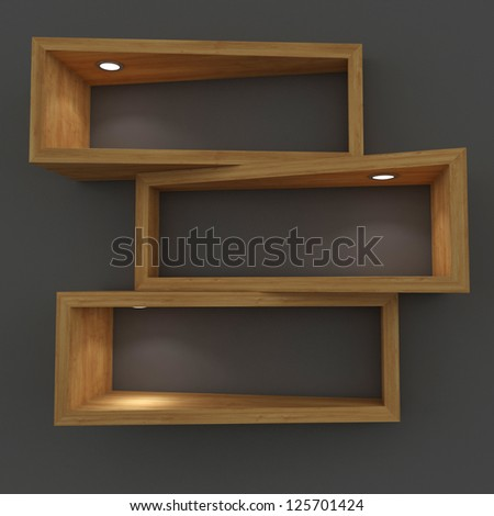3d white shelfs with lights - stock photo
