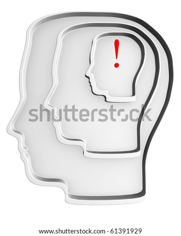 3d white silhouette of a head, a labyrinth, with an exclamation marks in it. - stock photo