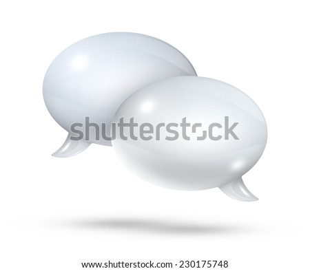 3D white speech bubbles isolated on white - stock photo