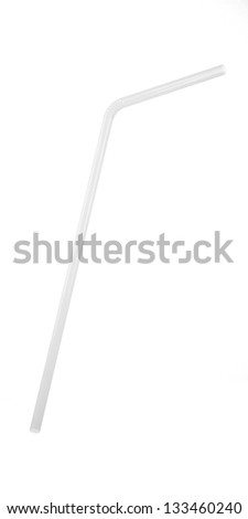 3D White Transparent  Drinking Straw Isolated on White - stock photo
