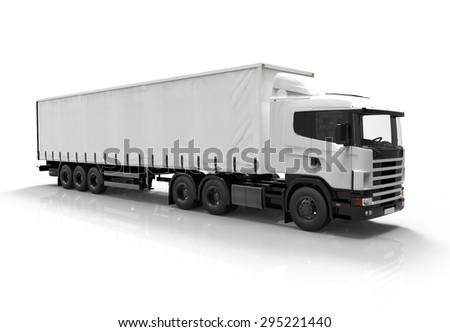 3D white truck isolated on a white background