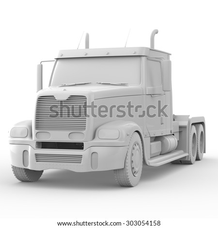 3d white truck isolated on white background