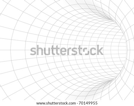 3d white tunnel with black wireframe - stock photo