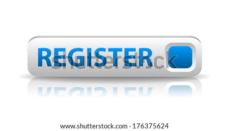 3D white web button with blue sign register and reflection (raster version, available as vector too) - stock photo