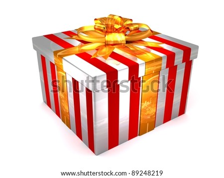 3D white with red Gift cristmas box on the white - stock photo