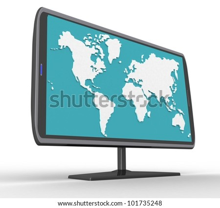 3d widescreen TFT display with a white background - stock photo