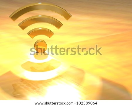 3D Wifi Gold Text over yellow background - stock photo