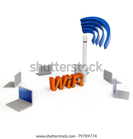 3d wifi hotspot with laptops isolated on white - stock photo