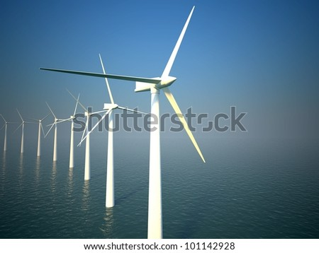 3d wind turbines producing energy in the sea - stock photo