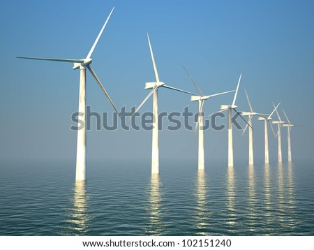 3d wind turbines producing energy in the sea