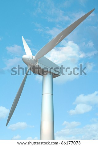 3D windmill and blue sky - stock photo