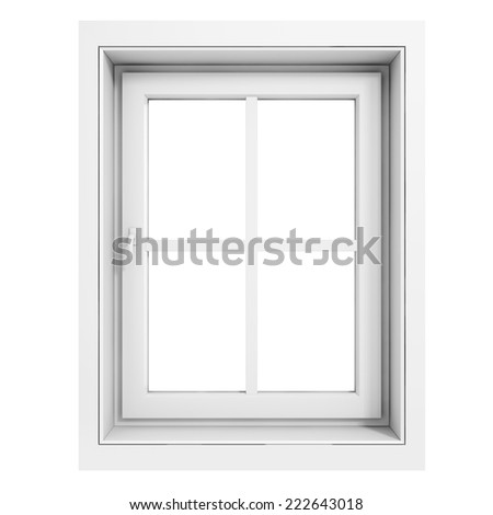 3d window frame on white background - stock photo