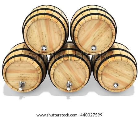 oak barrels stacked top. Oak Barrels Stacked Top. Plain 3d Wine Barrel Stack On White Background Illustration Top