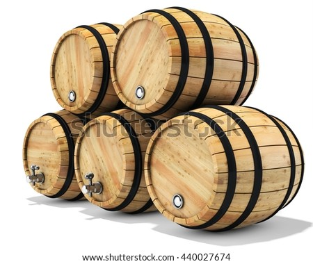 3d wine barrel stack on white background 3D illustration - stock photo