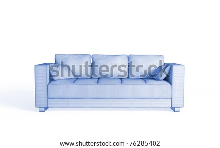 3d wireframe of a modern sofa. Isolated on white. - stock photo