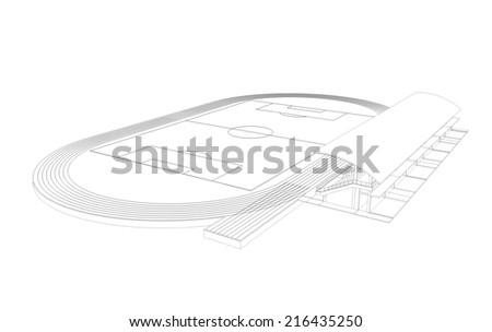 3D wireframe of soccer stadium - stock photo