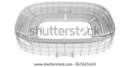 3D wireframe of soccer stadium - stock photo