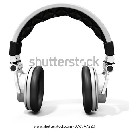 3d wireless  DJ headphones on white background - stock photo