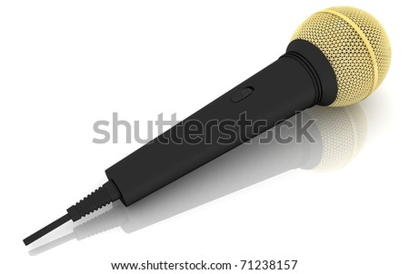 3d wireless microphone in a white background