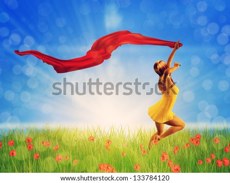 3d woman jumping on a poppy field with a red scarf. - stock photo
