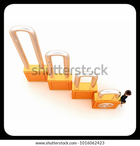 3d woman mail lock concept on white background,  top angle view