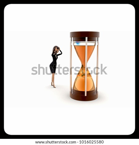 3d woman time limit concept on white background, front angle view